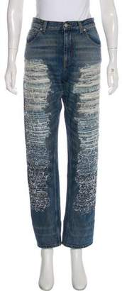 Alexander McQueen High-Rise Distressed Jeans