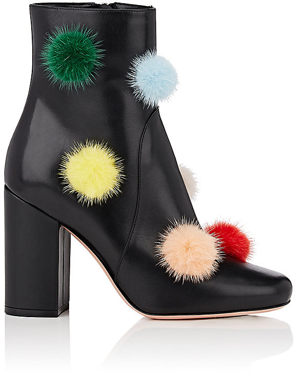 Fendi Women's Pom-Pom-Embellished Leather Ankle Boots