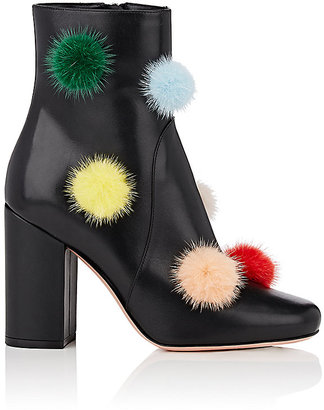 Women's Pom-Pom-Embellished Leather Ankle Boots