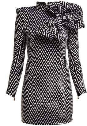Balmain Chevron-striped bow-embellished mini dress