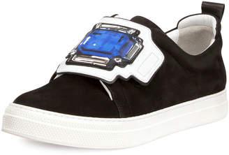 Pierre Hardy Gem Slider Suede Sneakers, Black