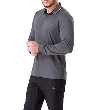 Co Trailside Supply Men's Long-Sleeve Polo Shirts Breathable Quick Dry Top Blouse