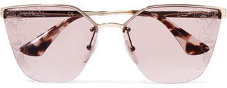 Prada Cat-eye Acetate And Silver-tone Sunglasses