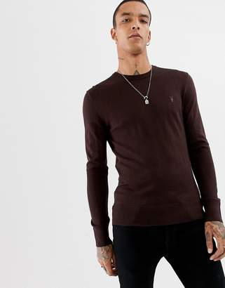 AllSaints 100% merino crew neck sweater in oxblood red with ramskull logo