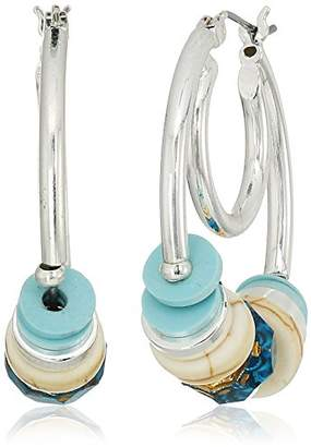 Cotton Candy Napier Silver-Tone and Beaded Hoop Earrings