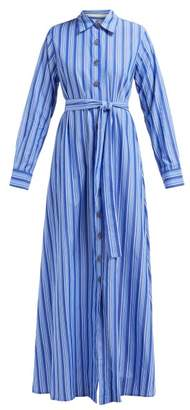 Evi Grintela - Valerie Striped Cotton Maxi Shirtdress - Womens - Blue