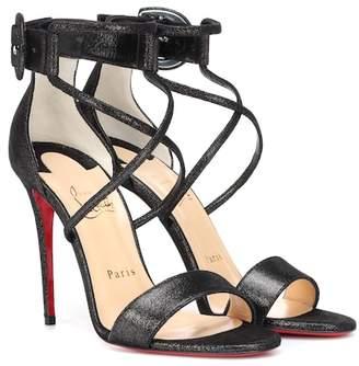 Christian Louboutin Choca 100 suede lamé sandals