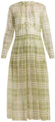 Burberry Adela scribble checked sheer-silk dress