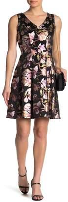 Robbie Bee Floral Jacquard V-Neck Dress