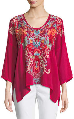 Johnny Was Valeria Embroidered V-Neck Blouse, Plus Size