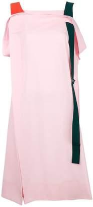 Issey Miyake asymmetric contrast strap dress