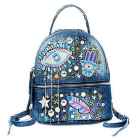 Steve Madden Tasha Patch Accented Denim Backpack