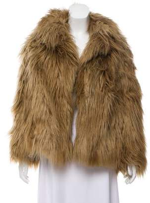 Dries Van Noten Notch-Lapel Faux Fur Jacket