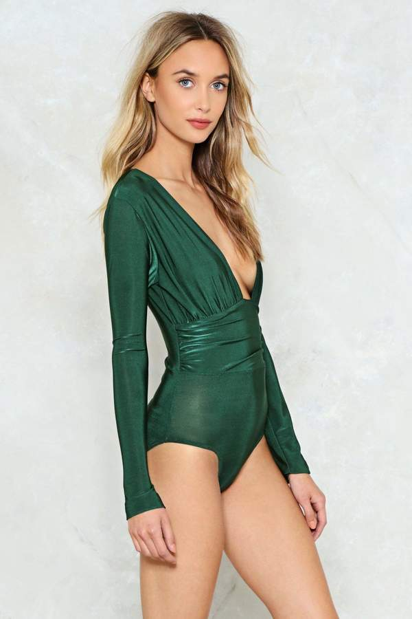 nastygal You Deep Me Hangin' On Plunging Bodysuit