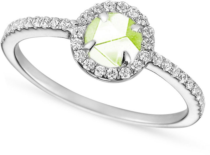 Crislu Ring, MicroLuxe Platinum over Sterling Silver Green Amethyst and Clear Cubic Zirconia (5/8 ct. t.w.)