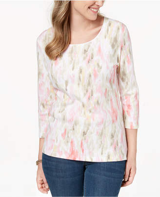 Karen Scott Petite Washed Print Top, Created for Macy's