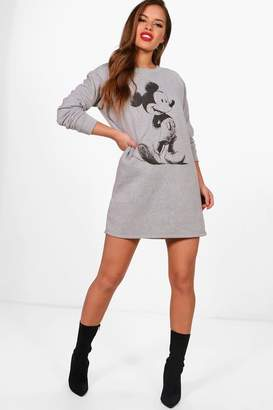 boohoo Petite Mickey Sketch Print Sweat Dress