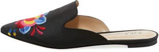 Neiman Marcus Florianna Embroidered Flat Mule, Black