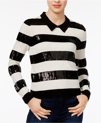 Maison Jules Sequined Striped Sweater, Only at Macy's $99.50 thestylecure.com