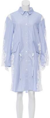 Sacai Lace-Paneled Shirt Dress w/ Tags