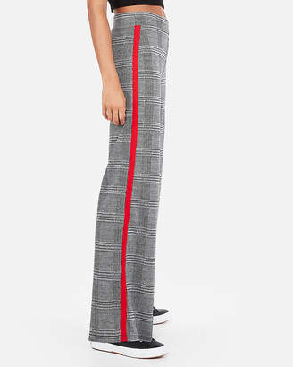 Express High Waisted Side Stripe Plaid Wide Leg Pant