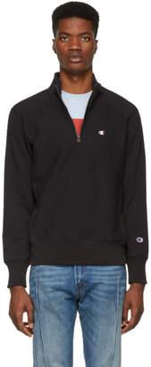 Champion Reverse Weave Black Half-Zip Turtleneck Sweatshirt