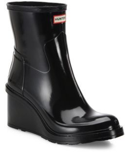 Hunter Original Refined Short Mid-Wedge Gloss Rain Boots $195 thestylecure.com