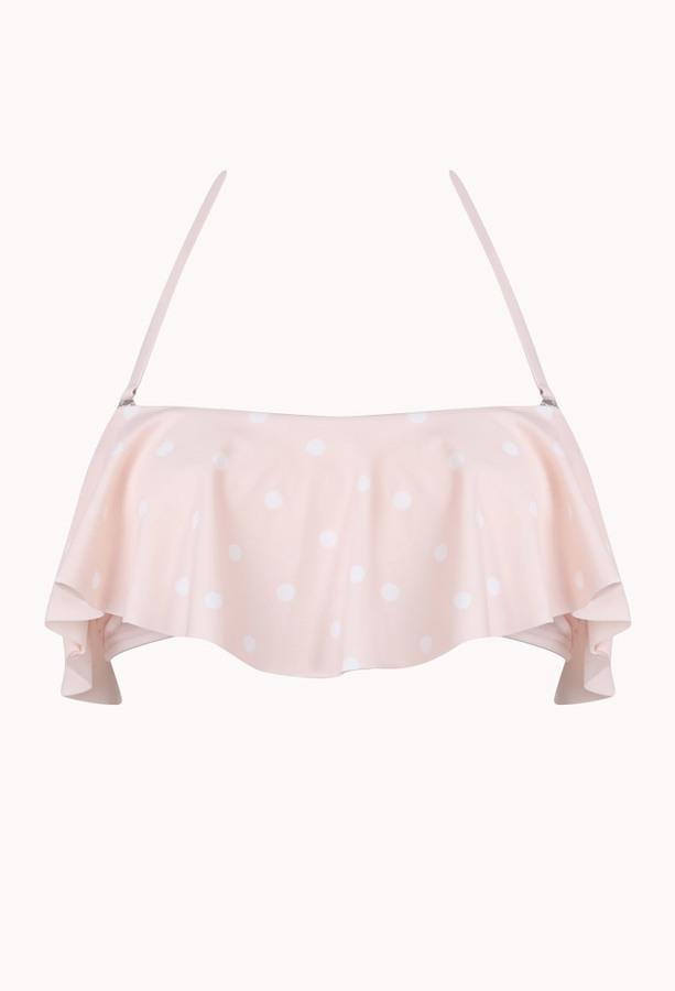 Forever 21 Polka Dot Ruffle Bandeau Bikini Top