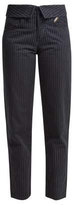 Atelier Jean Flip Fold Over Pinstripe Jeans - Womens - Black Stripe