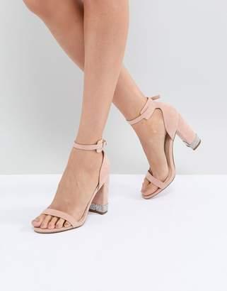 Office Hip Blush Embellished Block Heeled Sandals