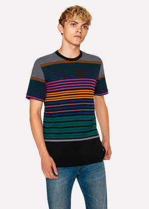 Paul Smith Men's Black Multi-Coloured Stripe Organic-Cotton T-Shirt