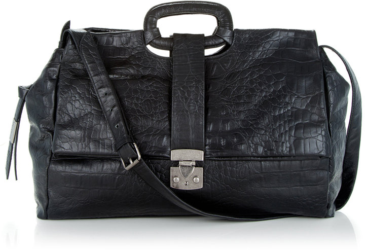 Envelope Tote In Croc Embossed Leather In Black Croco