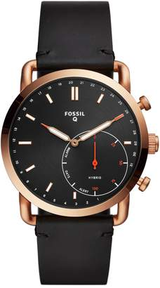 Fossil Q Commuter Leather Strap Hybrid Smart Watch, 42mm