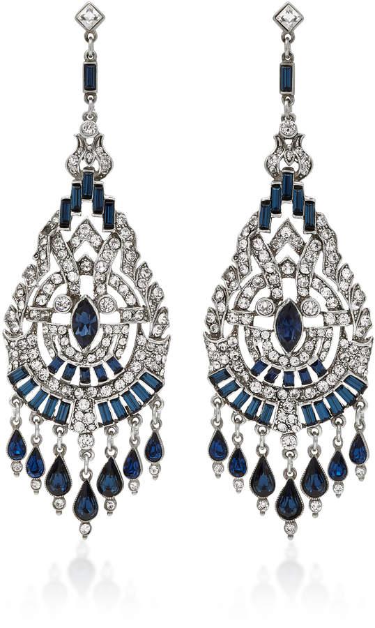 Ben-AmunBen Amun Silver-Tone Crystal and Sapphire Earrings