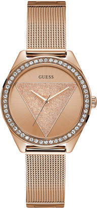 GUESS Women Rose Gold-Tone Stainless Steel Mesh Bracelet 36.5mm