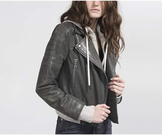 Alice + Olivia AVRIL SWEATSHIRT LEATHER JACKET