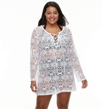 Plus Size Beach Scene Crochet Lace-Up Cover-Up