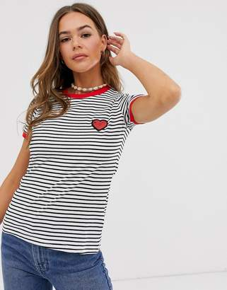 Brave Soul stripe ringer t-shirt with heart embroidery