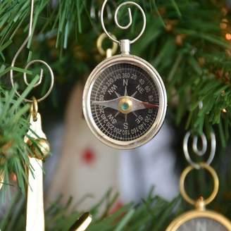 Handcrafted Nautical Decor Chrome Compass Christmas Tree Ornament
