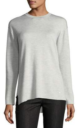 Akris Crewneck Long-Sleeve Striped-Back Knit Pullover Top