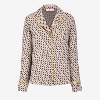 Bally Birds Printed Pyjama Shirt Grey, Women's wool and silk pyjama shirt in multi-grey