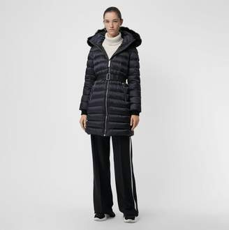 Burberry Detachable Shearling Trim Down-filled Puffer Coat, Blue