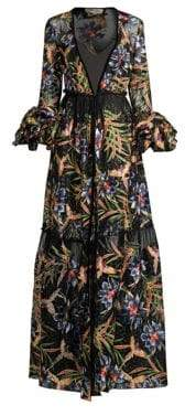 Diane von Furstenberg Puff Sleeves Tropical Maxi Dress