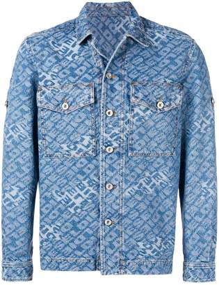 Diesel jacquard logo denim shirt-jacket