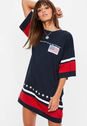 Missguided Navy Oversized Americana Slogan T-Shirt Dress, Blue