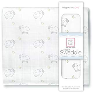 Swaddle Designs X-Large Cotton Muslin Swaddle Blanket, Little Lambs and Stars Sterling
