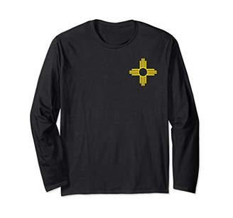 New Mexico Zia Sun Symbol Pocket Design Yellow Zia Sun Alone Long Sleeve T-Shirt
