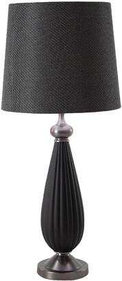 Uma Enterprises Matte Iron Table Lamp W/ Linen Drum Shade