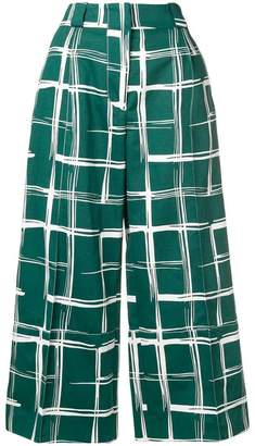 Marni geometric cropped flared trousers