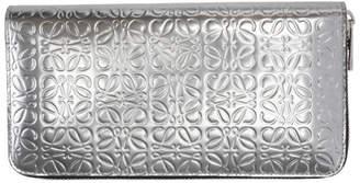 Loewe Silver Large Anagram Zip Around Wallet